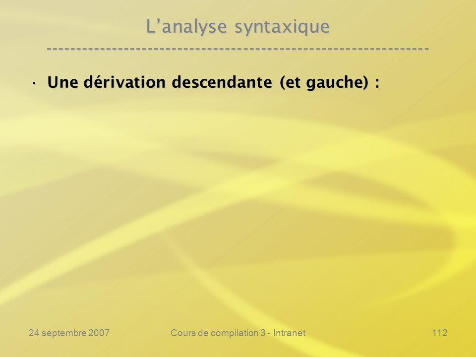 24 septembre 2007Cours de compilation 3 - Intranet112 Lanalyse syntaxique ---------------------------------------------------------------- Une dérivat