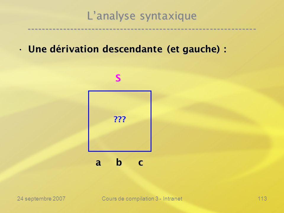 24 septembre 2007Cours de compilation 3 - Intranet113 Lanalyse syntaxique ---------------------------------------------------------------- Une dérivat