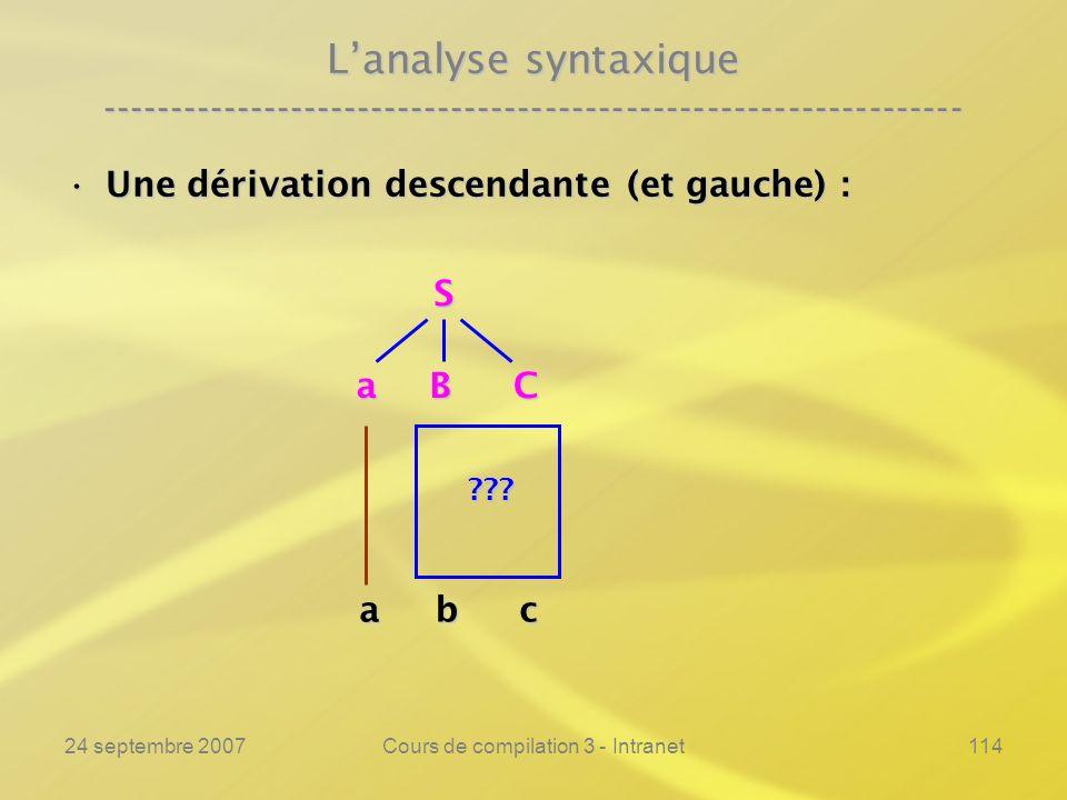 24 septembre 2007Cours de compilation 3 - Intranet114 Lanalyse syntaxique ---------------------------------------------------------------- Une dérivat