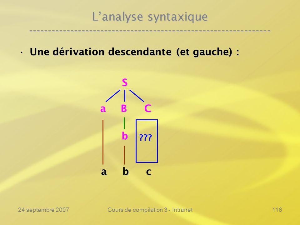24 septembre 2007Cours de compilation 3 - Intranet116 Lanalyse syntaxique ---------------------------------------------------------------- Une dérivat