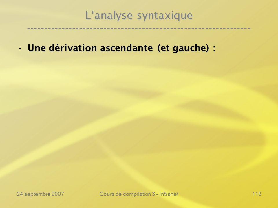 24 septembre 2007Cours de compilation 3 - Intranet118 Lanalyse syntaxique ---------------------------------------------------------------- Une dérivat
