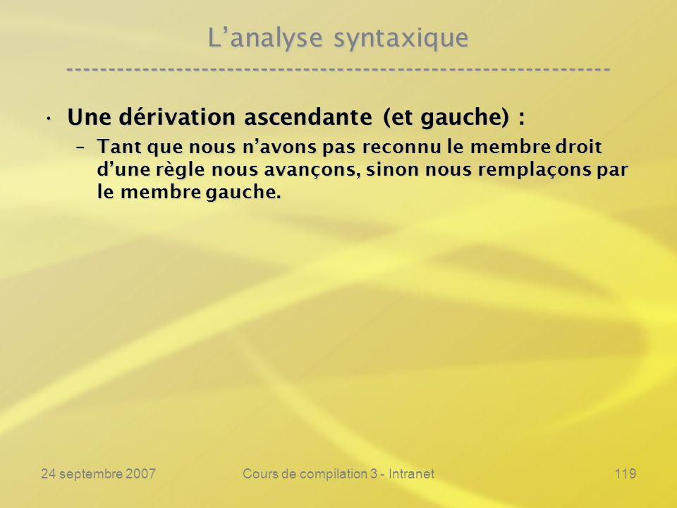 24 septembre 2007Cours de compilation 3 - Intranet119 Lanalyse syntaxique ---------------------------------------------------------------- Une dérivat