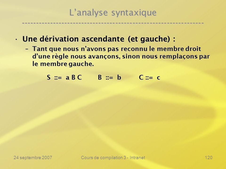 24 septembre 2007Cours de compilation 3 - Intranet120 Lanalyse syntaxique ---------------------------------------------------------------- Une dérivat