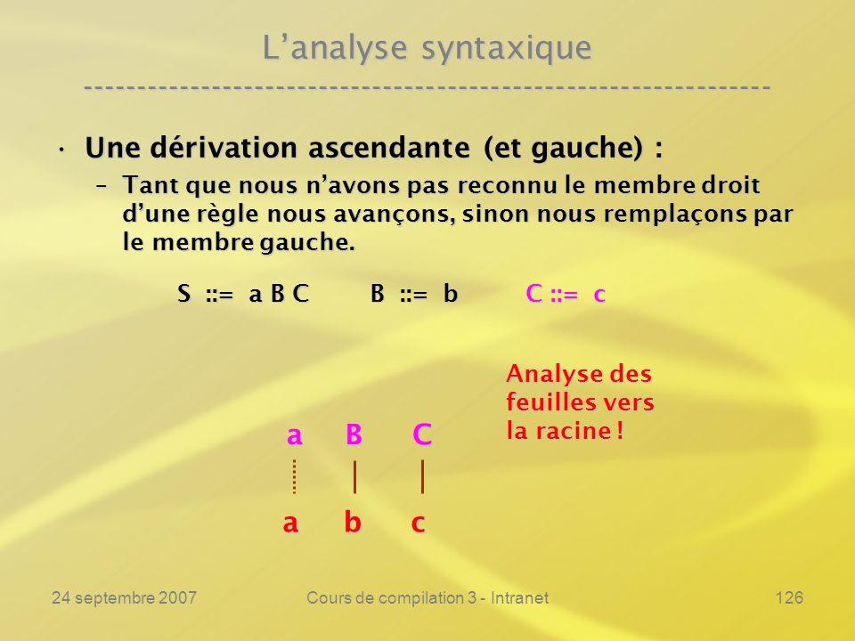 24 septembre 2007Cours de compilation 3 - Intranet126 Lanalyse syntaxique ---------------------------------------------------------------- Une dérivat