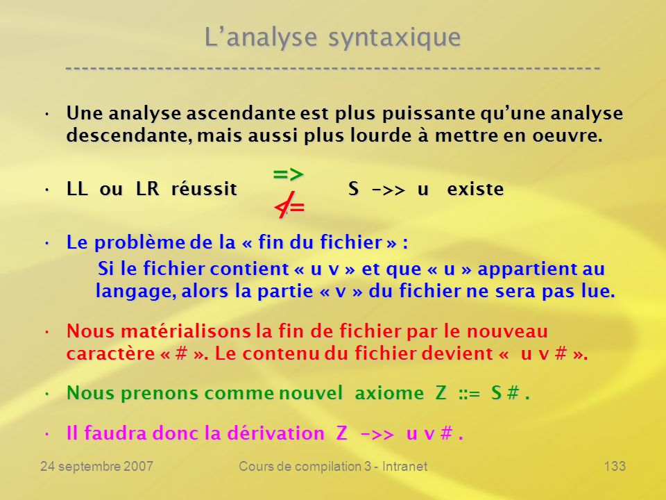 24 septembre 2007Cours de compilation 3 - Intranet133 Lanalyse syntaxique ---------------------------------------------------------------- Une analyse