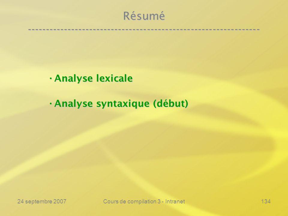 24 septembre 2007Cours de compilation 3 - Intranet134 Résumé ---------------------------------------------------------------- Analyse lexicale Analyse