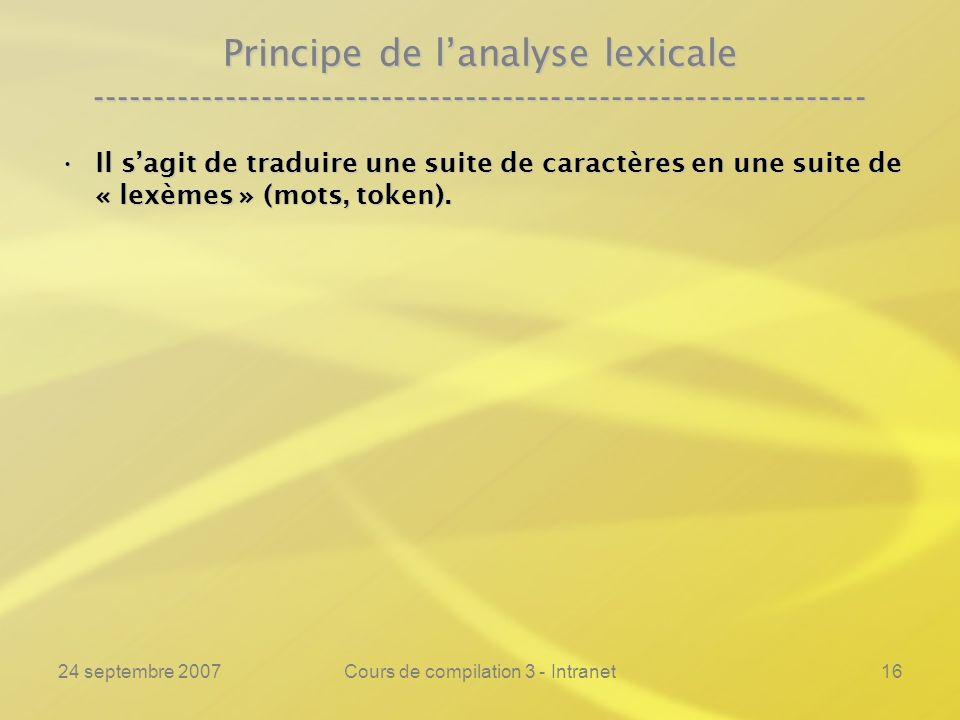 24 septembre 2007Cours de compilation 3 - Intranet16 Principe de lanalyse lexicale ---------------------------------------------------------------- Il