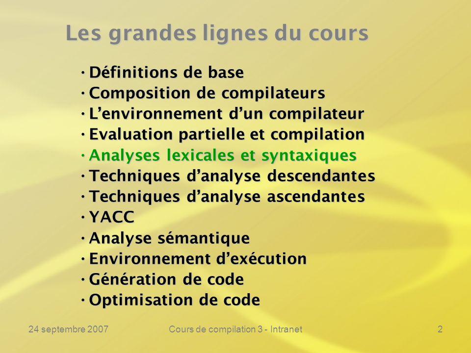 24 septembre 2007Cours de compilation 3 - Intranet83 Lanalyse syntaxique ---------------------------------------------------------------- Nous allons reconnaître le langage à laide dune grammaire non ambiguë.Nous allons reconnaître le langage à laide dune grammaire non ambiguë.