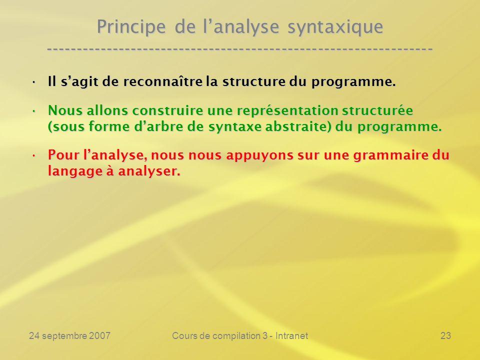 24 septembre 2007Cours de compilation 3 - Intranet23 Principe de lanalyse syntaxique ----------------------------------------------------------------
