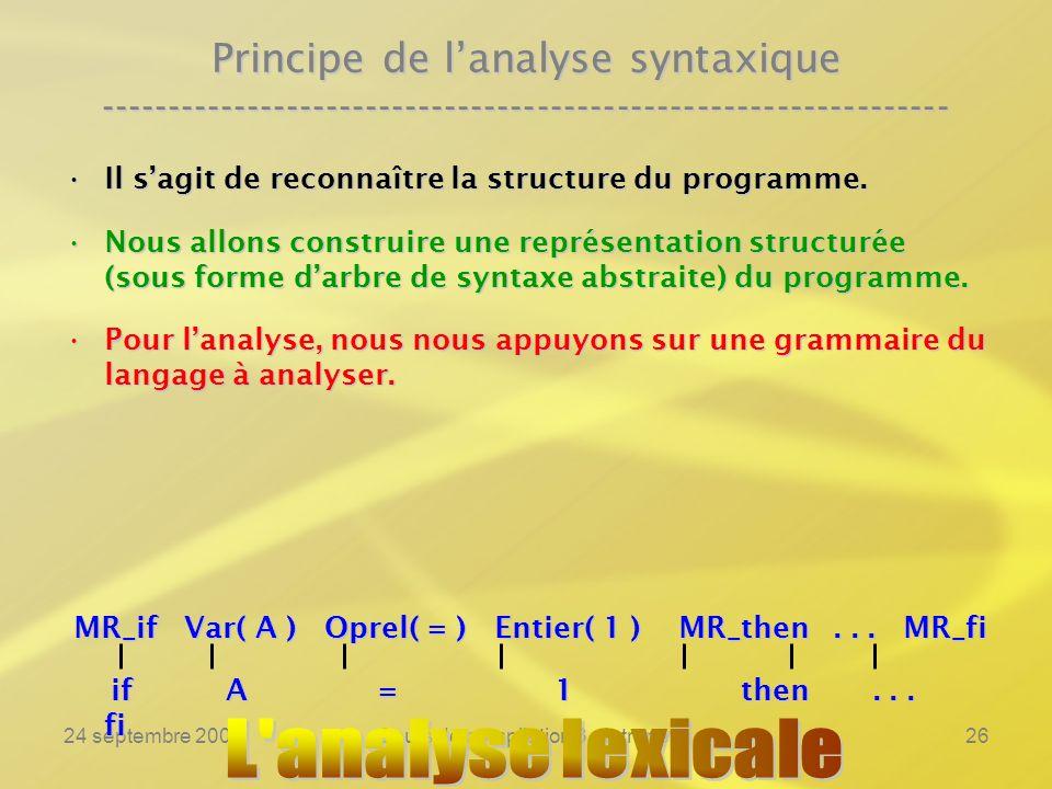 24 septembre 2007Cours de compilation 3 - Intranet26 Principe de lanalyse syntaxique ----------------------------------------------------------------