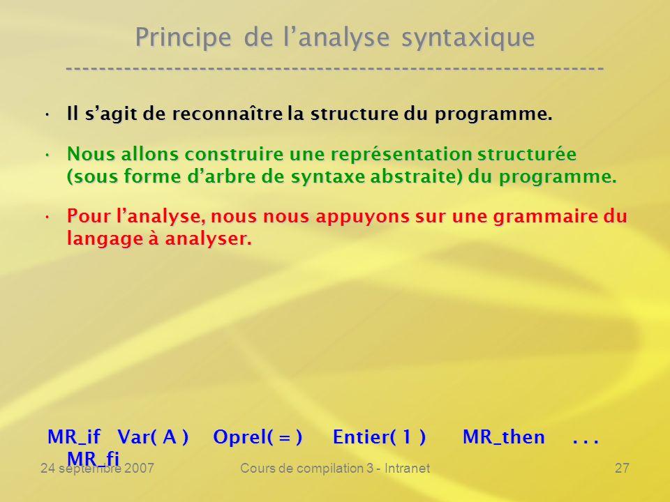 24 septembre 2007Cours de compilation 3 - Intranet27 Principe de lanalyse syntaxique ----------------------------------------------------------------