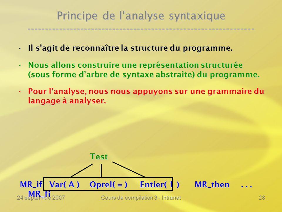 24 septembre 2007Cours de compilation 3 - Intranet28 Il sagit de reconnaître la structure du programme.Il sagit de reconnaître la structure du program