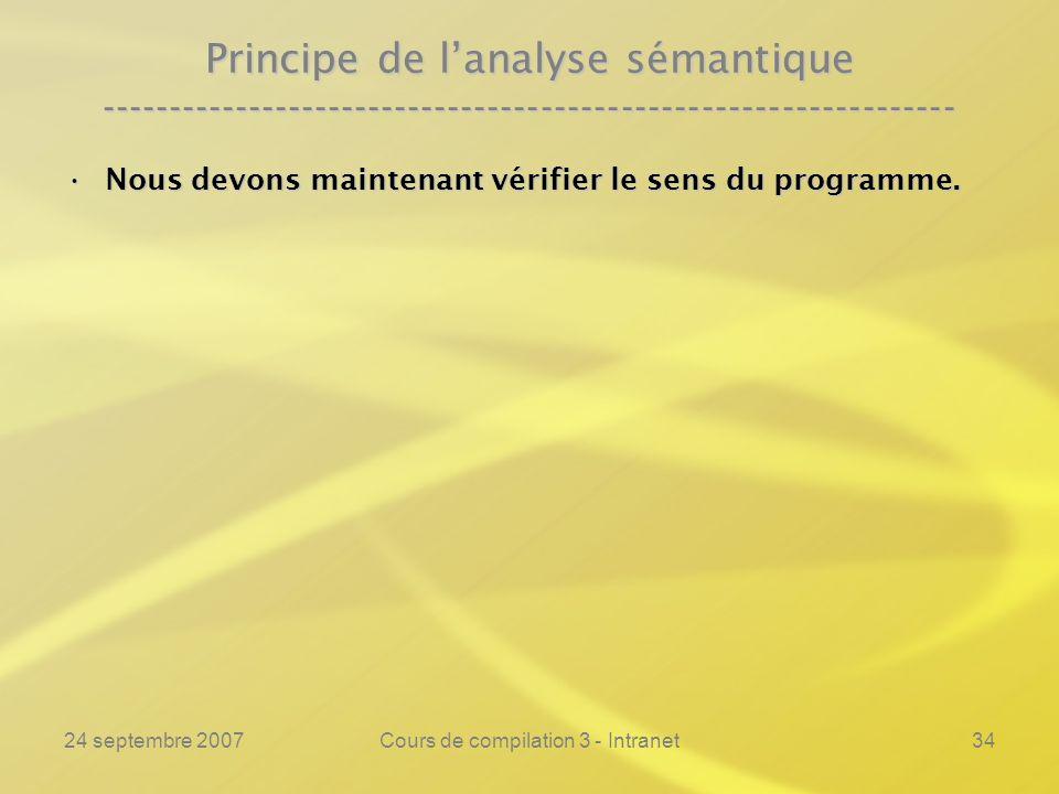 24 septembre 2007Cours de compilation 3 - Intranet34 Principe de lanalyse sémantique ----------------------------------------------------------------