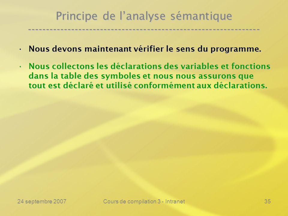 24 septembre 2007Cours de compilation 3 - Intranet35 Principe de lanalyse sémantique ----------------------------------------------------------------