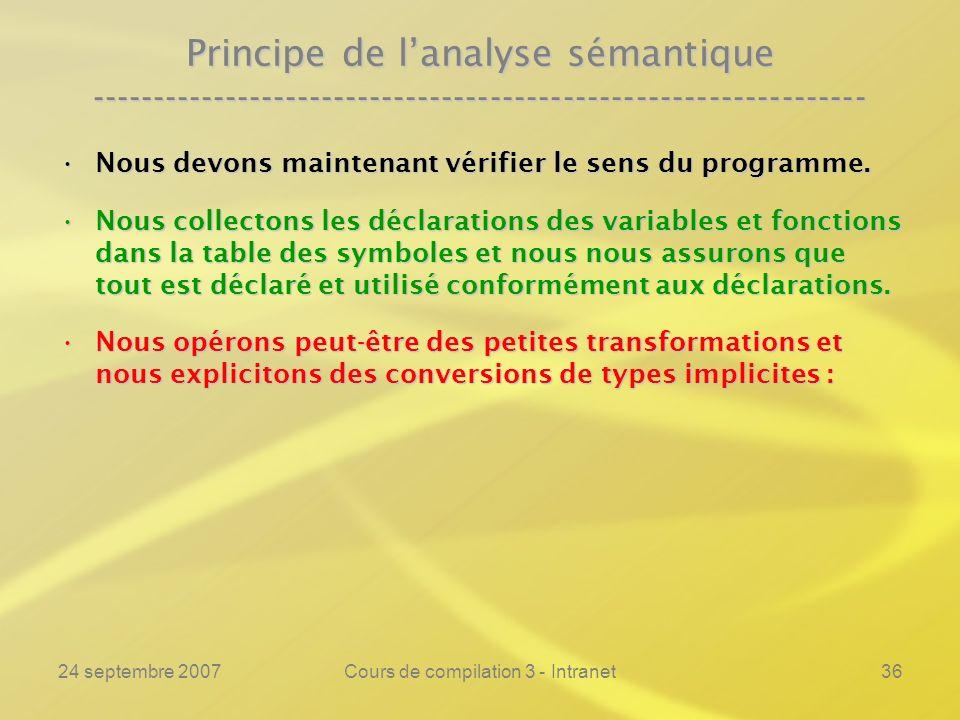 24 septembre 2007Cours de compilation 3 - Intranet36 Principe de lanalyse sémantique ----------------------------------------------------------------
