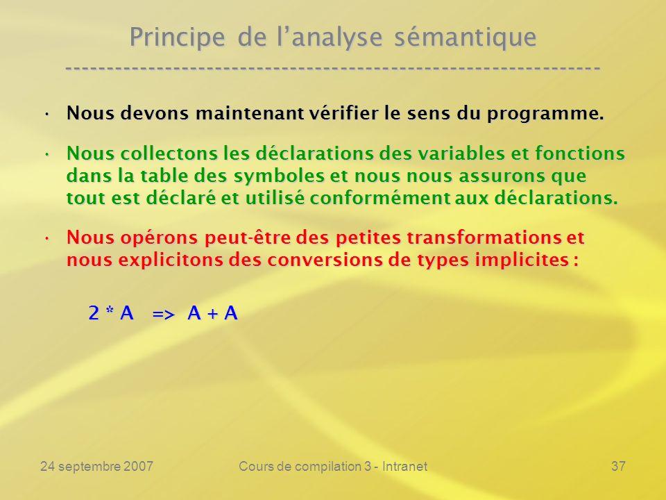 24 septembre 2007Cours de compilation 3 - Intranet37 Principe de lanalyse sémantique ----------------------------------------------------------------