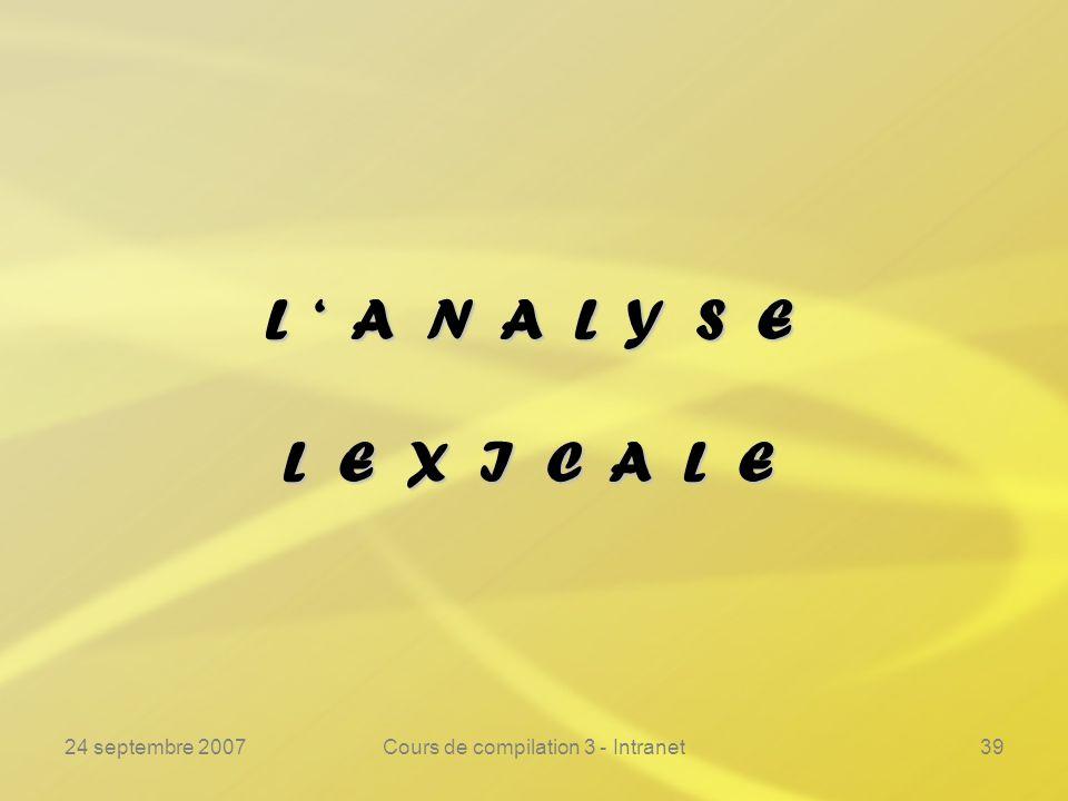24 septembre 2007Cours de compilation 3 - Intranet39 L A N A L Y S E L E X I C A L E