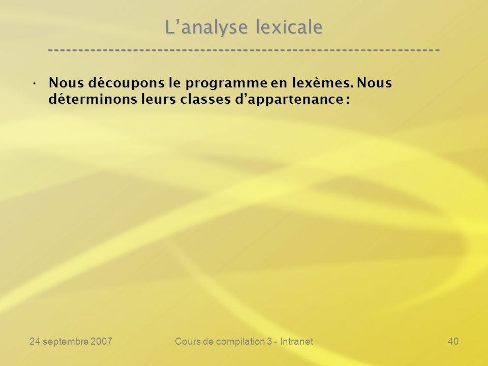 24 septembre 2007Cours de compilation 3 - Intranet40 Lanalyse lexicale ---------------------------------------------------------------- Nous découpons