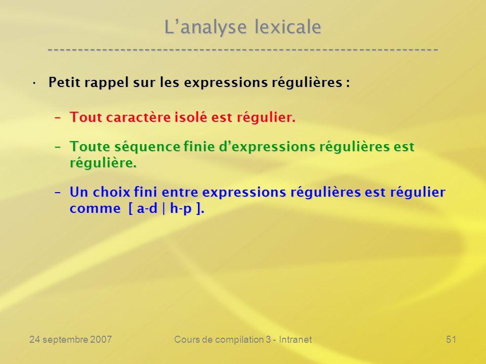 24 septembre 2007Cours de compilation 3 - Intranet51 Lanalyse lexicale ---------------------------------------------------------------- Petit rappel s