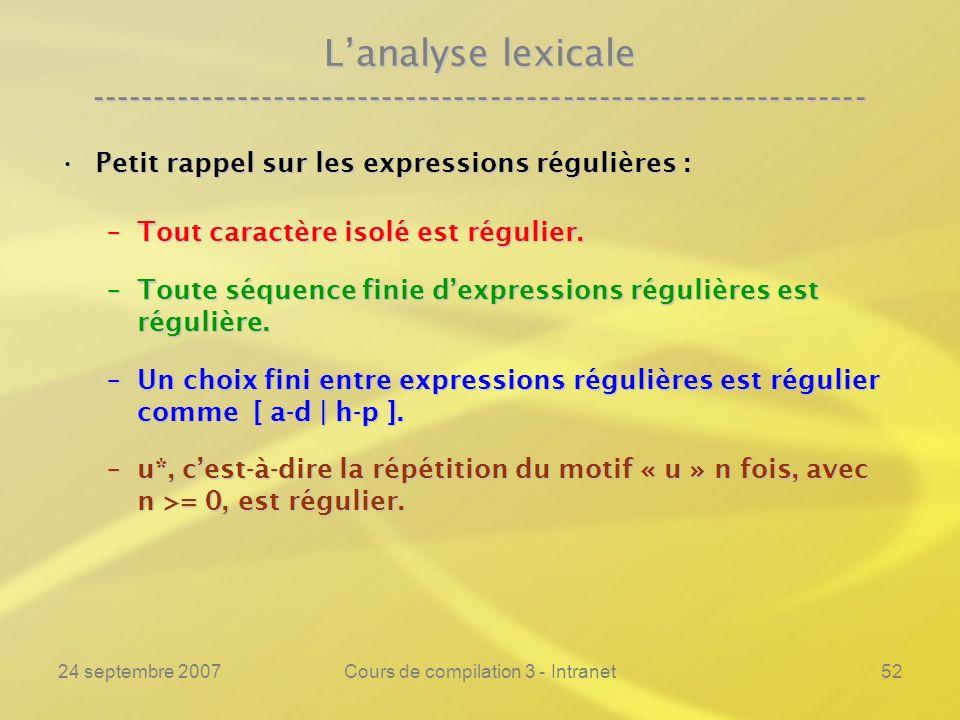 24 septembre 2007Cours de compilation 3 - Intranet52 Lanalyse lexicale ---------------------------------------------------------------- Petit rappel s