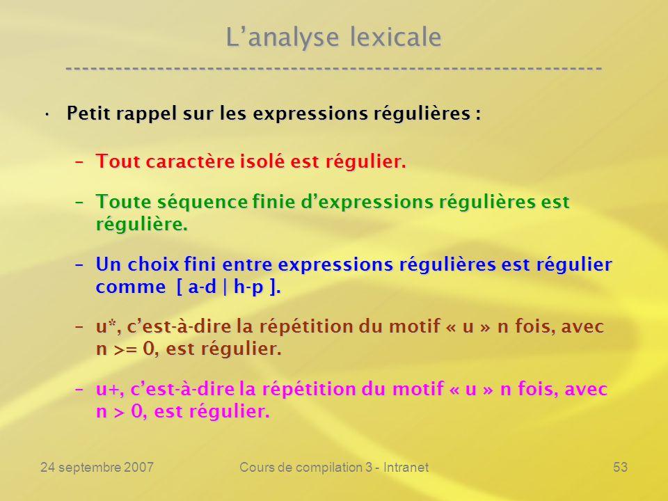 24 septembre 2007Cours de compilation 3 - Intranet53 Lanalyse lexicale ---------------------------------------------------------------- Petit rappel s