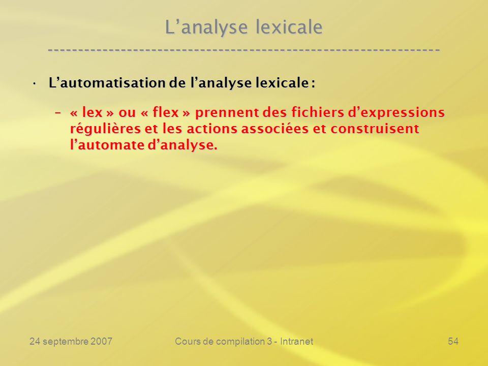 24 septembre 2007Cours de compilation 3 - Intranet54 Lanalyse lexicale ---------------------------------------------------------------- Lautomatisatio