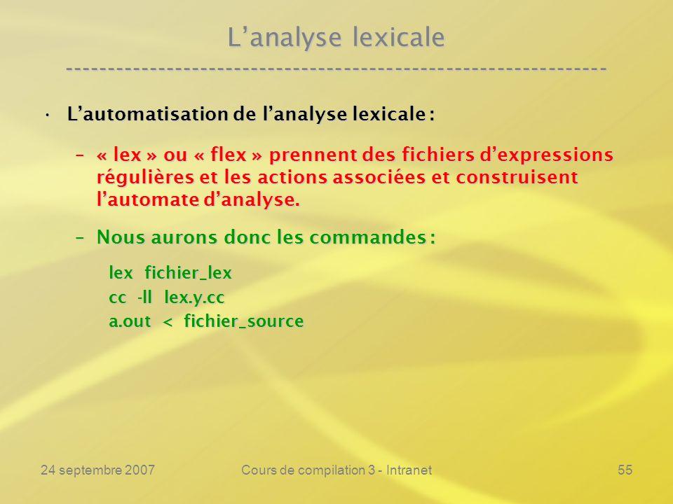 24 septembre 2007Cours de compilation 3 - Intranet55 Lanalyse lexicale ---------------------------------------------------------------- Lautomatisatio