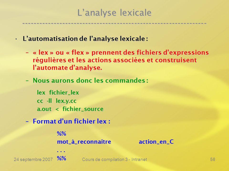 24 septembre 2007Cours de compilation 3 - Intranet56 Lanalyse lexicale ---------------------------------------------------------------- Lautomatisatio