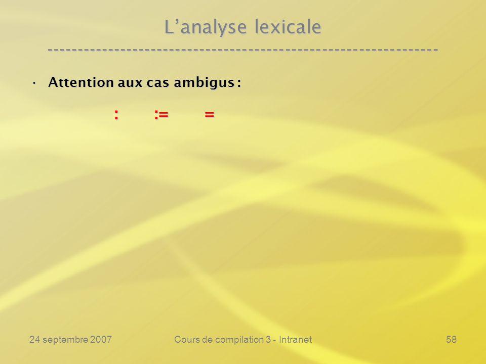 24 septembre 2007Cours de compilation 3 - Intranet58 Lanalyse lexicale ---------------------------------------------------------------- Attention aux