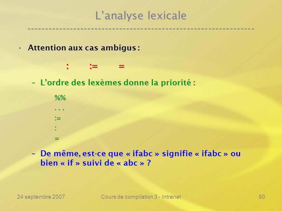 24 septembre 2007Cours de compilation 3 - Intranet60 Lanalyse lexicale ---------------------------------------------------------------- Attention aux