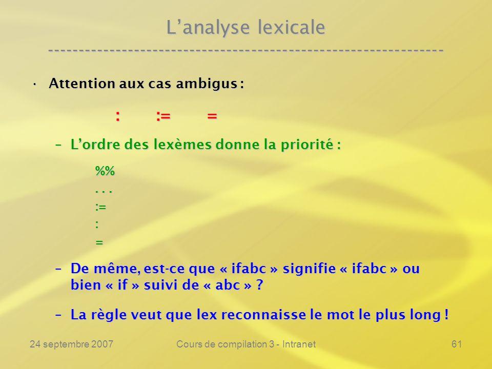 24 septembre 2007Cours de compilation 3 - Intranet61 Lanalyse lexicale ---------------------------------------------------------------- Attention aux