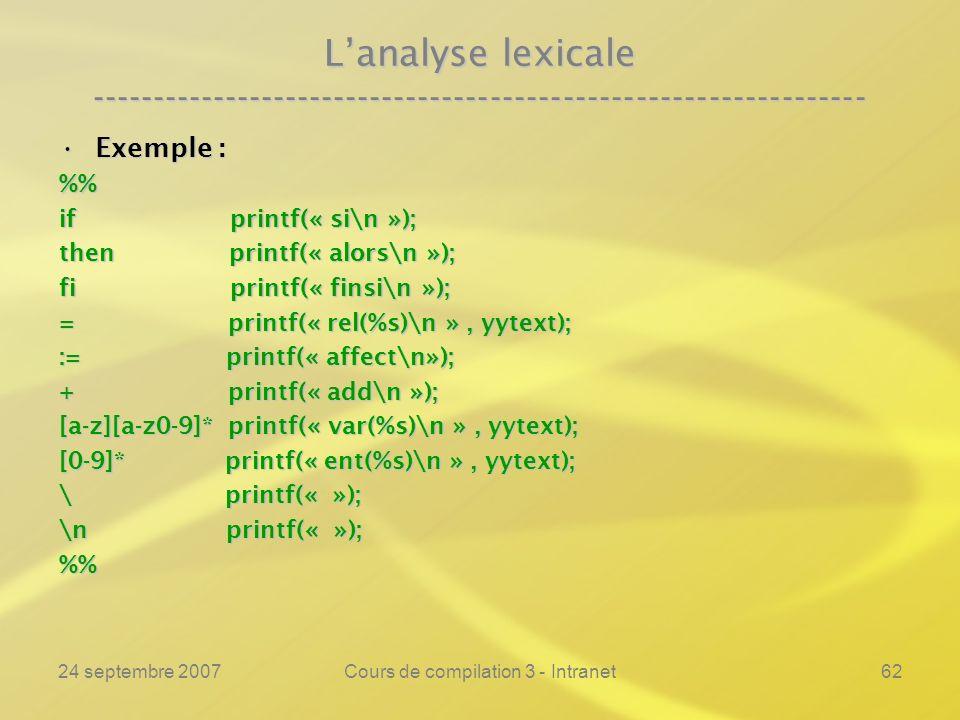 24 septembre 2007Cours de compilation 3 - Intranet62 Lanalyse lexicale ---------------------------------------------------------------- Exemple :Exemp