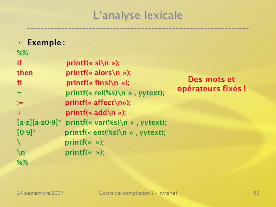 24 septembre 2007Cours de compilation 3 - Intranet63 Lanalyse lexicale ---------------------------------------------------------------- Exemple :Exemp
