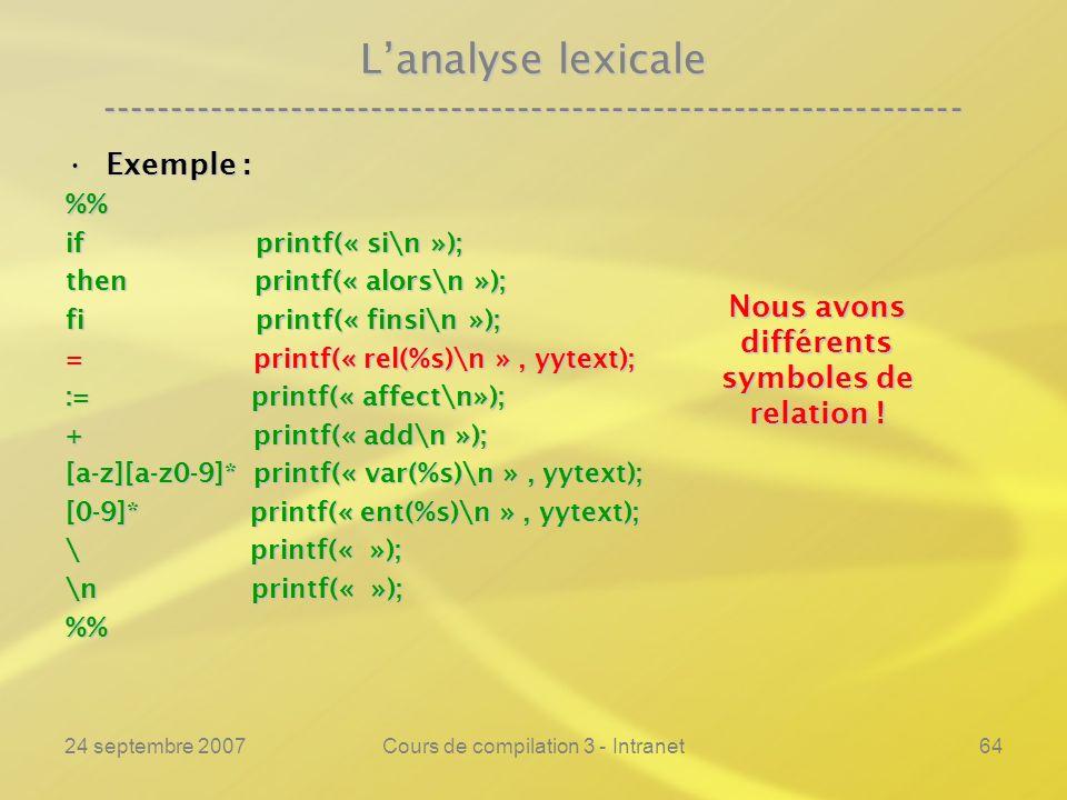 24 septembre 2007Cours de compilation 3 - Intranet64 Lanalyse lexicale ---------------------------------------------------------------- Exemple :Exemp