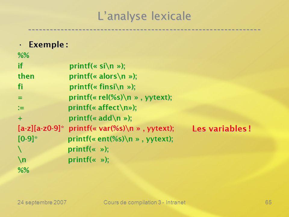 24 septembre 2007Cours de compilation 3 - Intranet65 Lanalyse lexicale ---------------------------------------------------------------- Exemple :Exemp