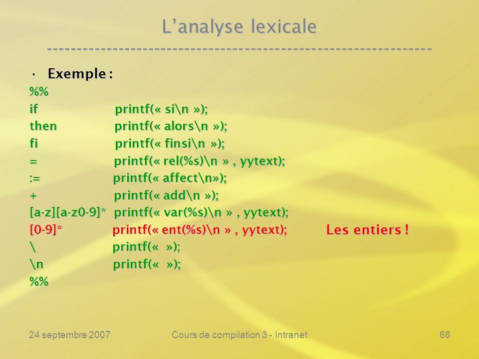 24 septembre 2007Cours de compilation 3 - Intranet66 Lanalyse lexicale ---------------------------------------------------------------- Exemple :Exemp