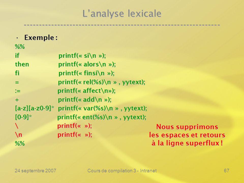 24 septembre 2007Cours de compilation 3 - Intranet67 Lanalyse lexicale ---------------------------------------------------------------- Exemple :Exemp