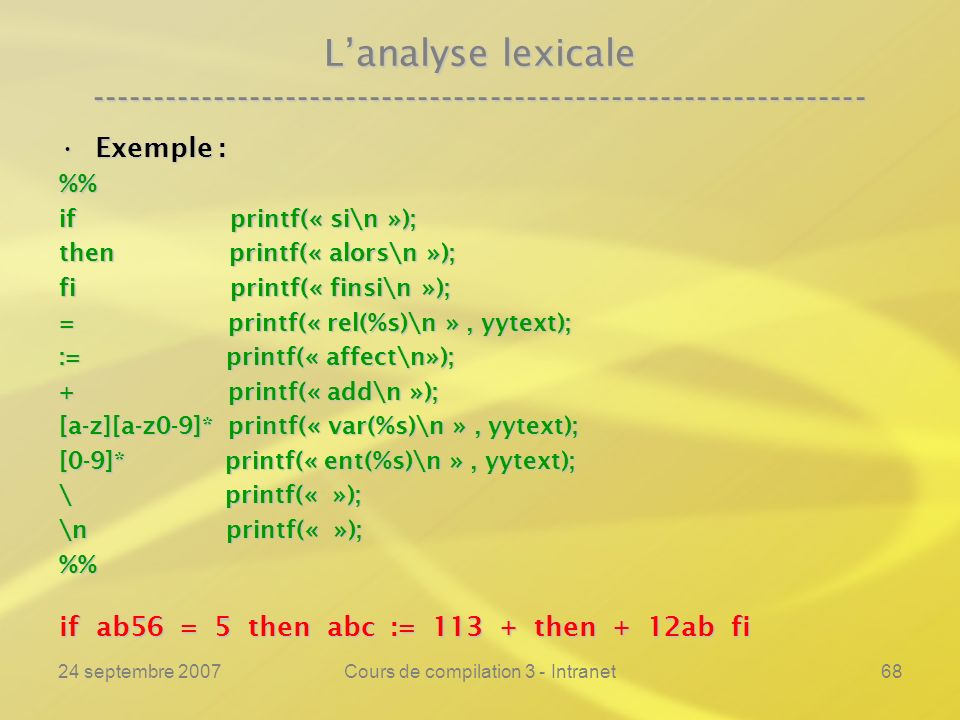 24 septembre 2007Cours de compilation 3 - Intranet68 Lanalyse lexicale ---------------------------------------------------------------- Exemple :Exemp