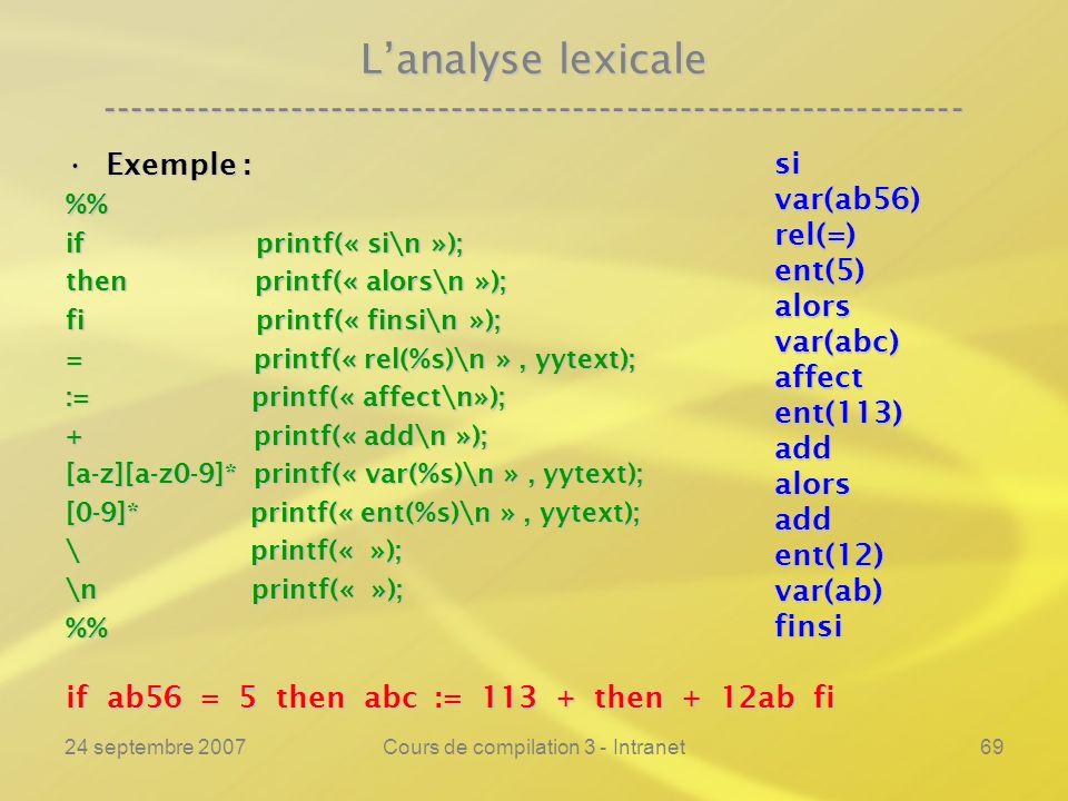 24 septembre 2007Cours de compilation 3 - Intranet69 Lanalyse lexicale ---------------------------------------------------------------- Exemple :Exemp
