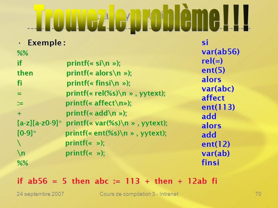 24 septembre 2007Cours de compilation 3 - Intranet70 Lanalyse lexicale ---------------------------------------------------------------- Exemple :Exemp