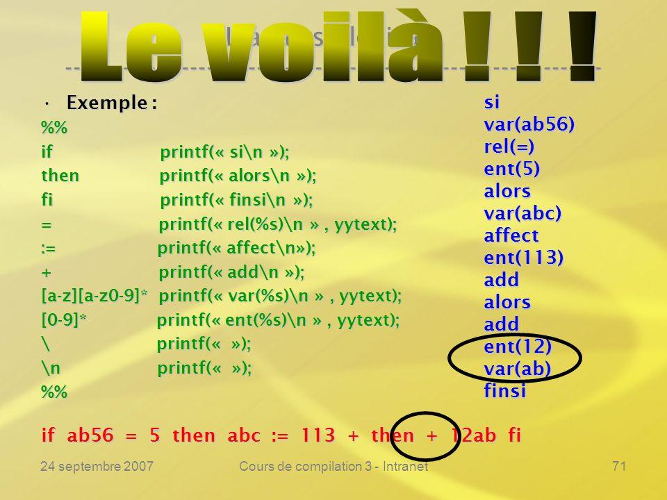 24 septembre 2007Cours de compilation 3 - Intranet71 Lanalyse lexicale ---------------------------------------------------------------- Exemple :Exemp
