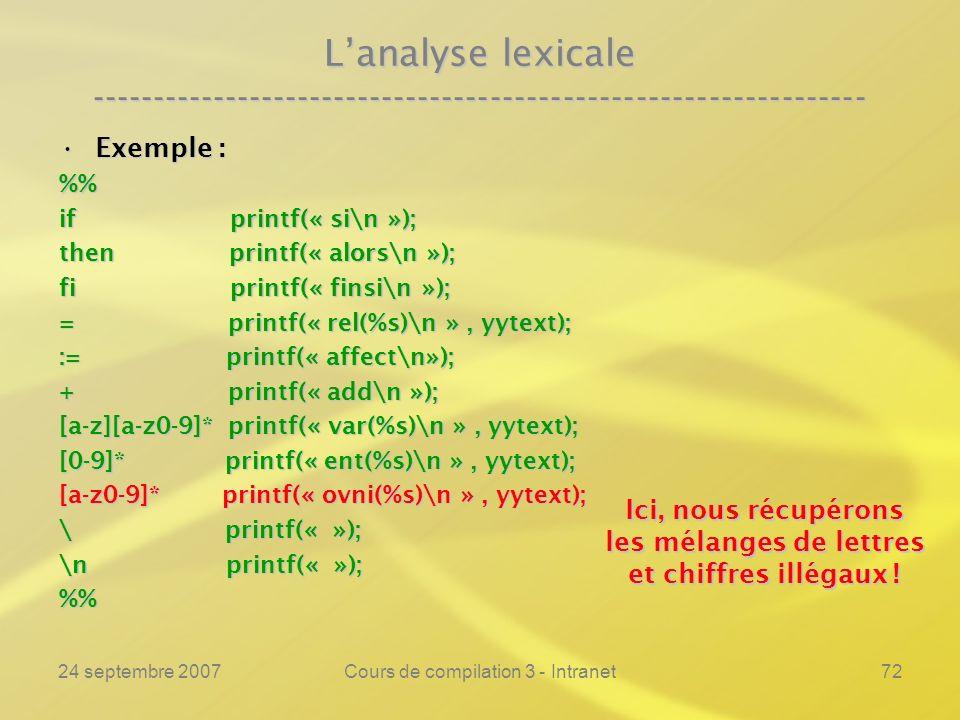 24 septembre 2007Cours de compilation 3 - Intranet72 Lanalyse lexicale ---------------------------------------------------------------- Exemple :Exemp