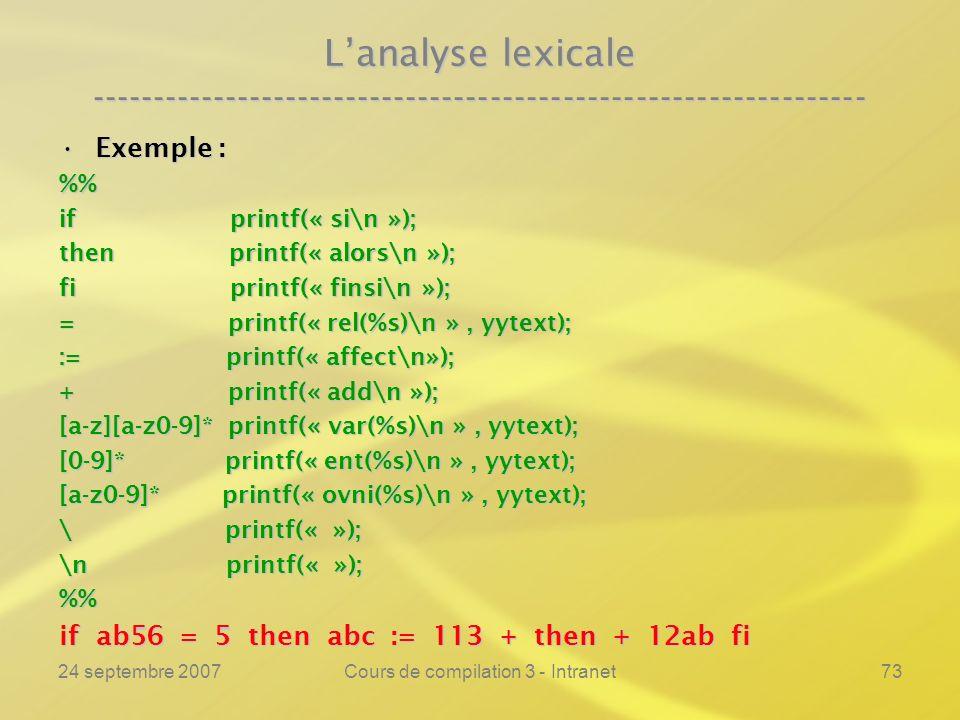 24 septembre 2007Cours de compilation 3 - Intranet73 Lanalyse lexicale ---------------------------------------------------------------- Exemple :Exemp
