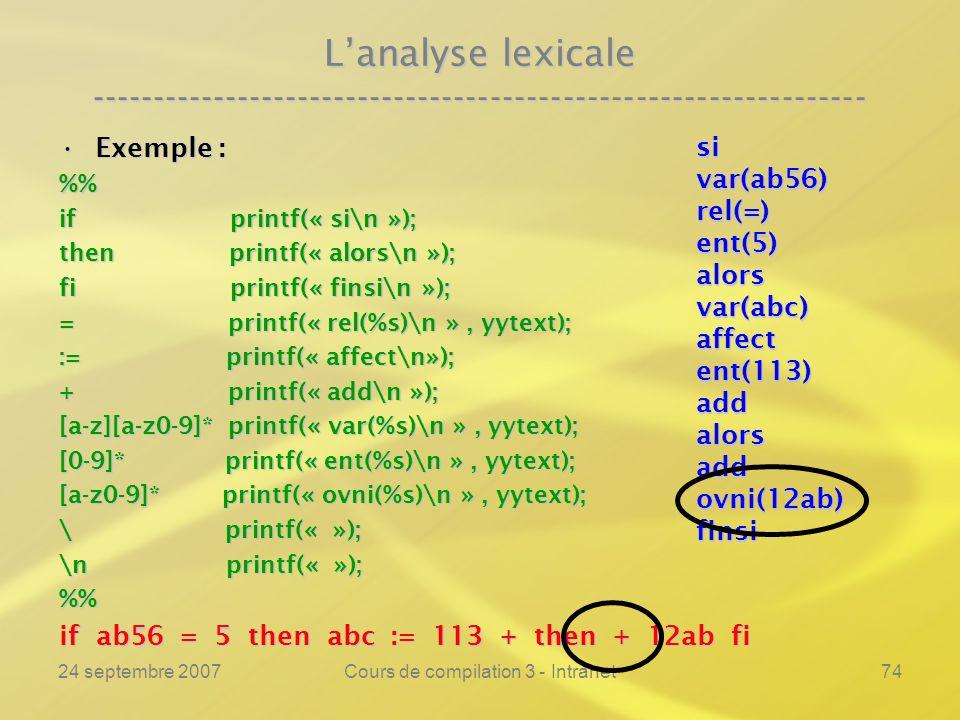 24 septembre 2007Cours de compilation 3 - Intranet74 Lanalyse lexicale ---------------------------------------------------------------- Exemple :Exemp