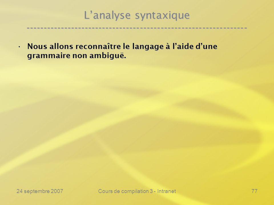 24 septembre 2007Cours de compilation 3 - Intranet77 Lanalyse syntaxique ---------------------------------------------------------------- Nous allons
