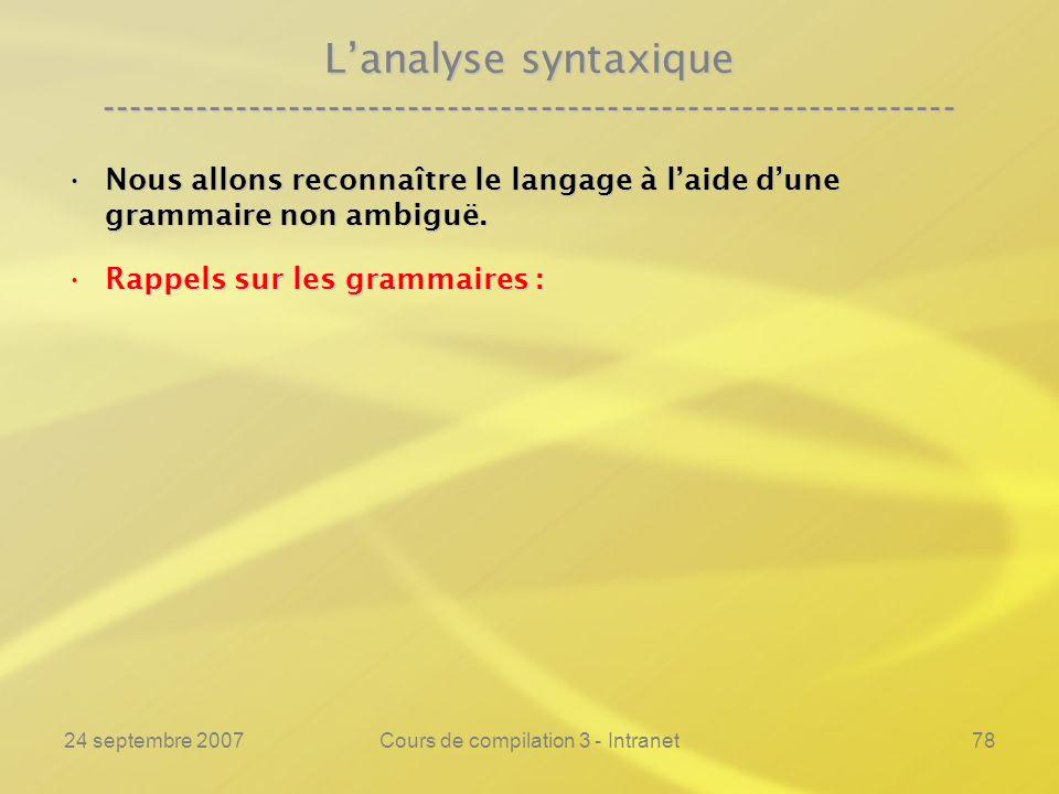 24 septembre 2007Cours de compilation 3 - Intranet78 Lanalyse syntaxique ---------------------------------------------------------------- Nous allons