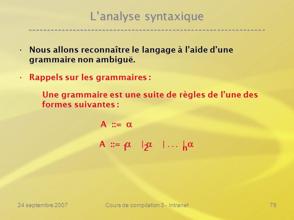24 septembre 2007Cours de compilation 3 - Intranet79 Lanalyse syntaxique ---------------------------------------------------------------- Nous allons