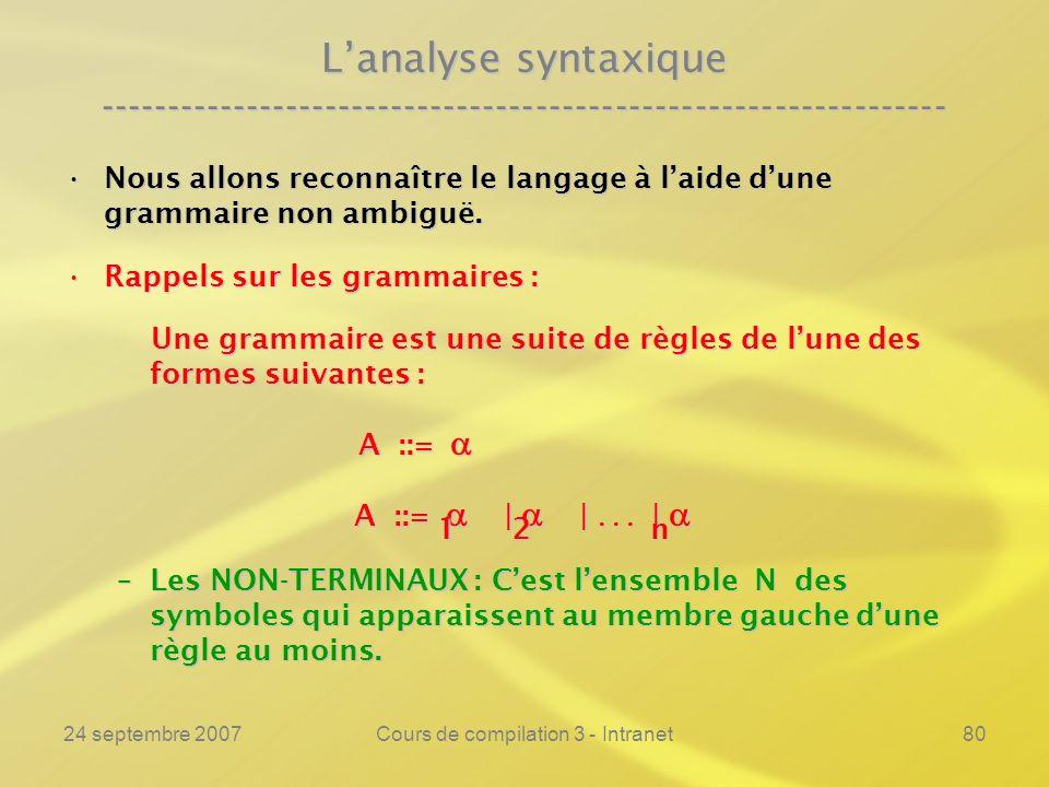 24 septembre 2007Cours de compilation 3 - Intranet80 Lanalyse syntaxique ---------------------------------------------------------------- Nous allons