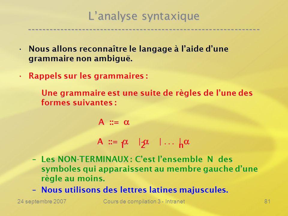 24 septembre 2007Cours de compilation 3 - Intranet81 Lanalyse syntaxique ---------------------------------------------------------------- Nous allons