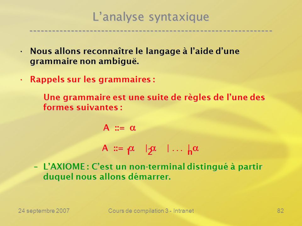 24 septembre 2007Cours de compilation 3 - Intranet82 Lanalyse syntaxique ---------------------------------------------------------------- Nous allons